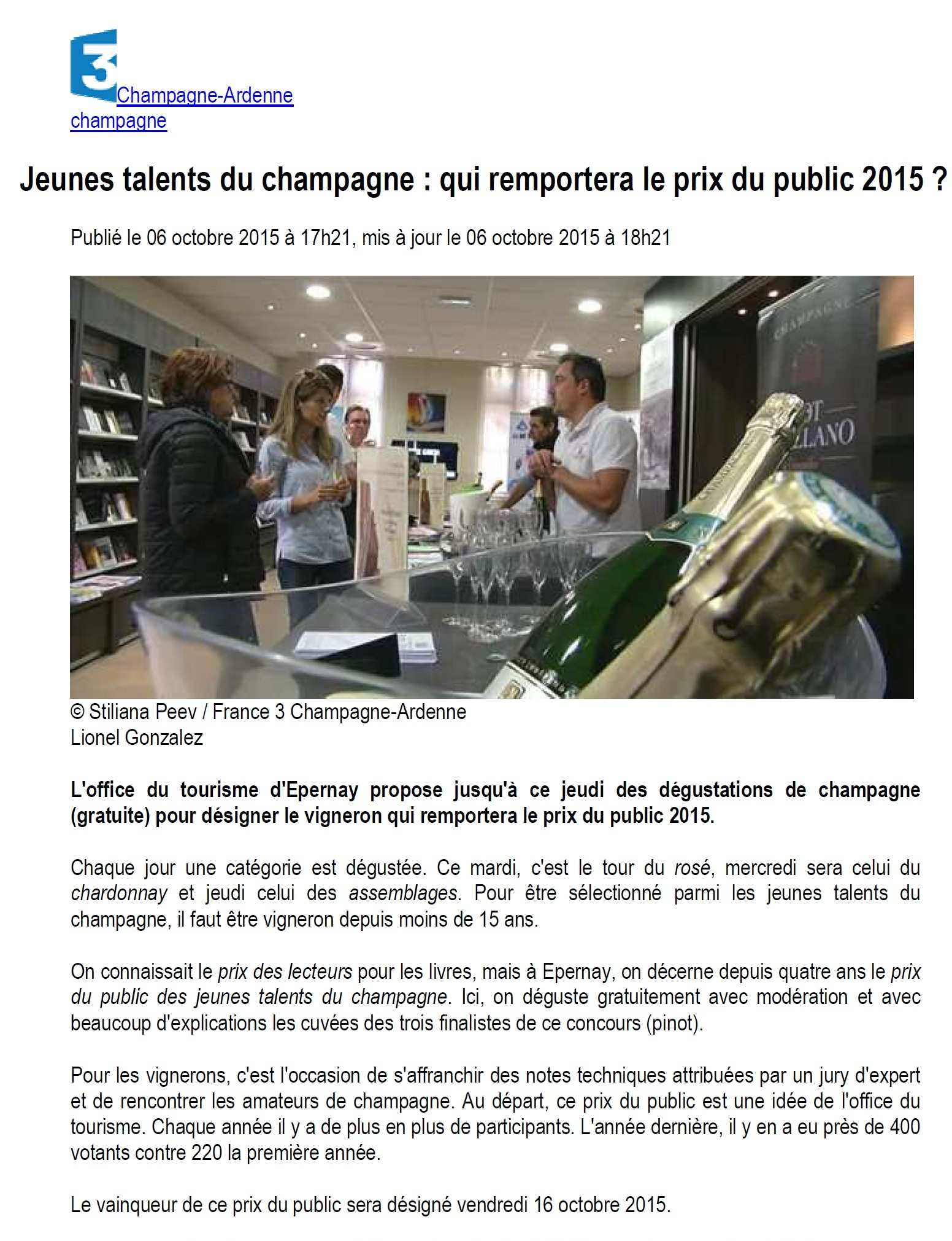 Article France 3 Champagne Ardenne