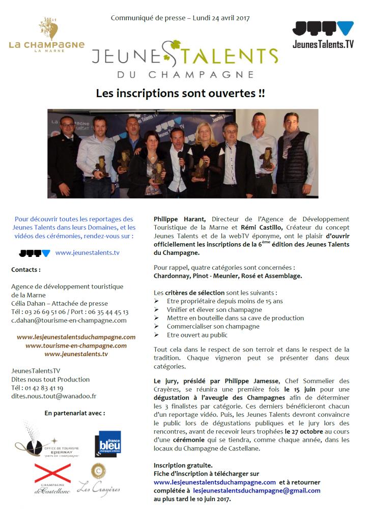 CP OUVERTURE DES INSCRIPTIONS JT CHAMPAGNE 2017