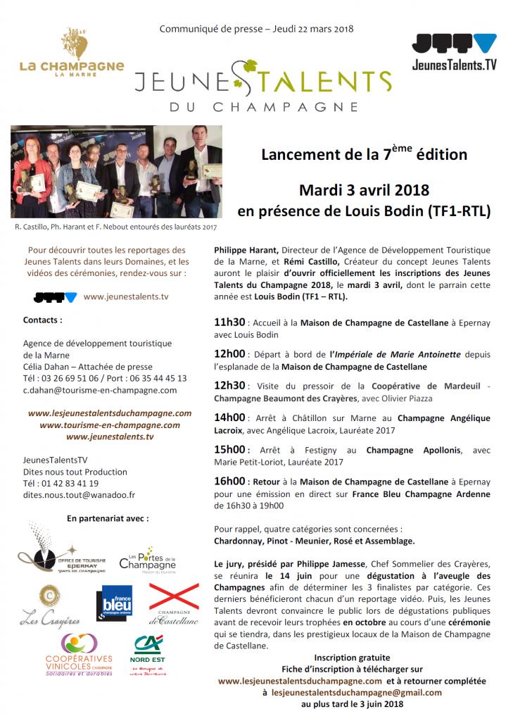 CP OUVERTURE DES INSCRIPTIONS JT CHAMPAGNE 2018