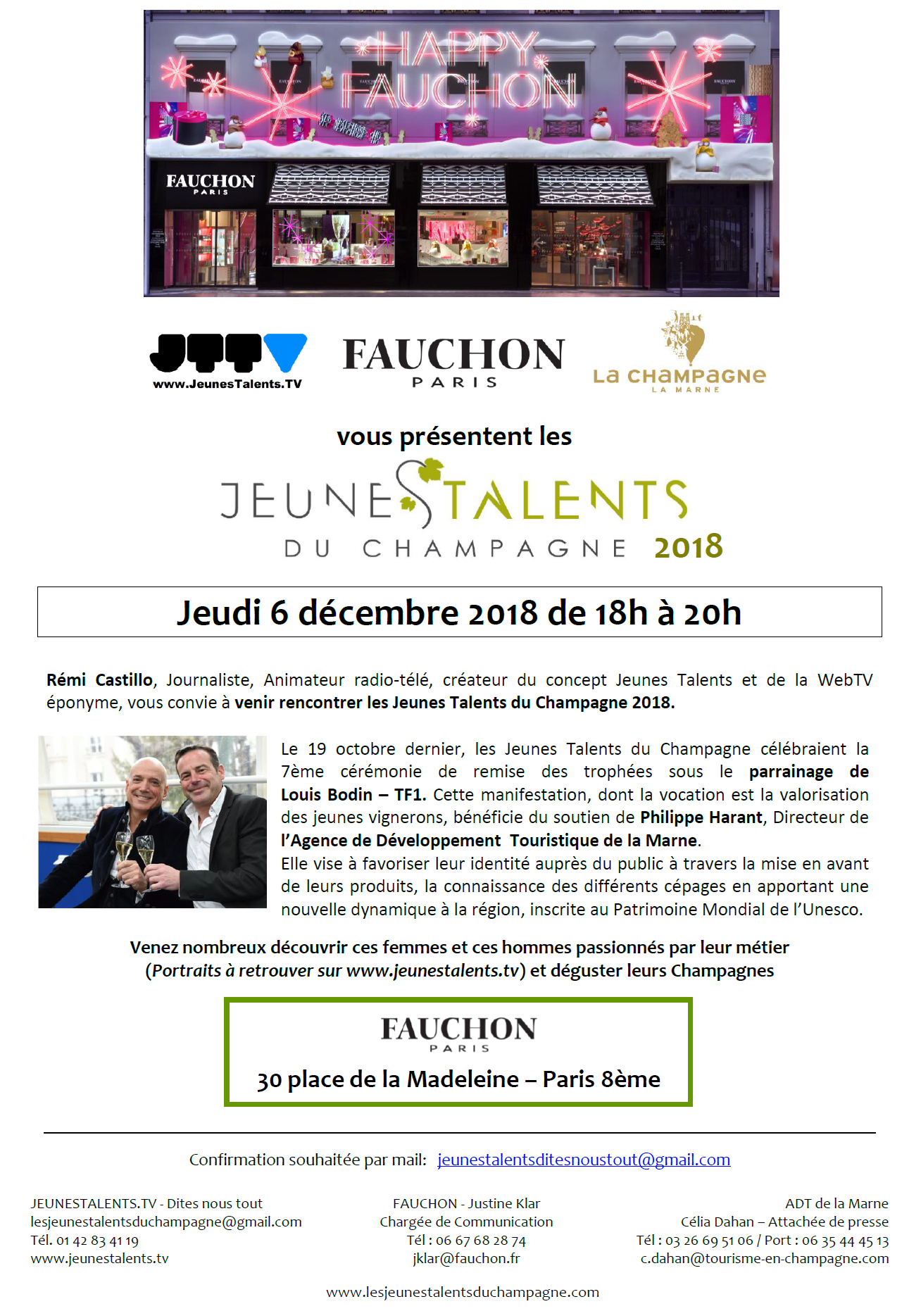 INVITATION RENCONTRE JT CHAMPAGNE 6 DEC 2018 FAUCHON