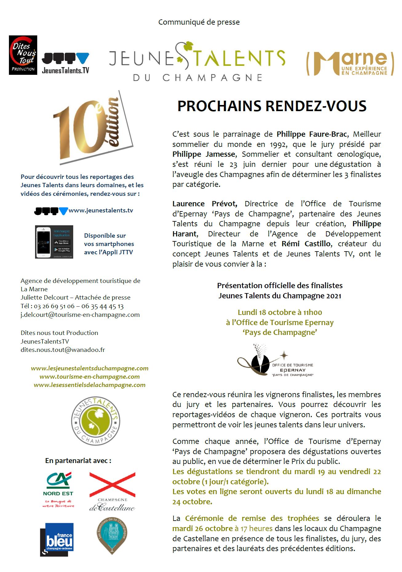 CP PROCHAINS RENDEZ VOUS JT CHAMPAGNE 2021
